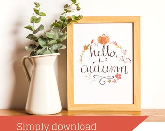 Printable Art || Fall Printable || Calligraphy || Fall Decor || Printable Calligraphy || Happy Fall || Hello Fall || Printable Quote