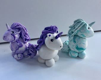 Mini Marble Friends Unicorns with or without Sparkle Glitter choose ONE in your choice of colors and style