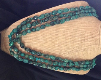 Three Strand Natural Turquoise Necklace