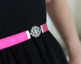Fuchsia Belt - Silver belt - Bridesmaids belt - Dress belt - Vintage Style belt - Pink belt - Skinny Belt - Bridal Belt - Party Dress Belt