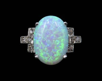 Art Deco Opal and Paste Large Oval Solitaire 18ct Gold on Silver Ring | Vintage Statement Cocktail Diamond Ring Rainbow Fire Colourful Opal