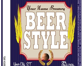 Home Brew Customized Beer Label - Baseball Brew