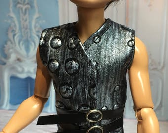 Fairy Tale Collection - Black and Silver Armor Look Vest for your Ever After High Boy Doll - Boy Doll Clothing