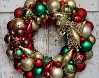 Traditional Christmas Ornament Wreath - Ornament Wreath - Christmas Wreath -