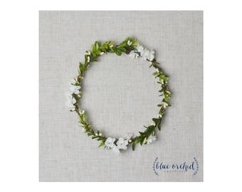 Flower Crown, Boho Wedding, Green Flower Crown, Floral Crown, Simple Flower Crown, Wedding Flower Crown, Silk Flower Crown, White and Green