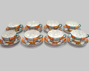Lusterware Cups and Saucers, 8 Sets Orange Peach Luster and Blue Gray Checked Coffee Cups, 17 Pieces Iridescent Plaid Tea Cups