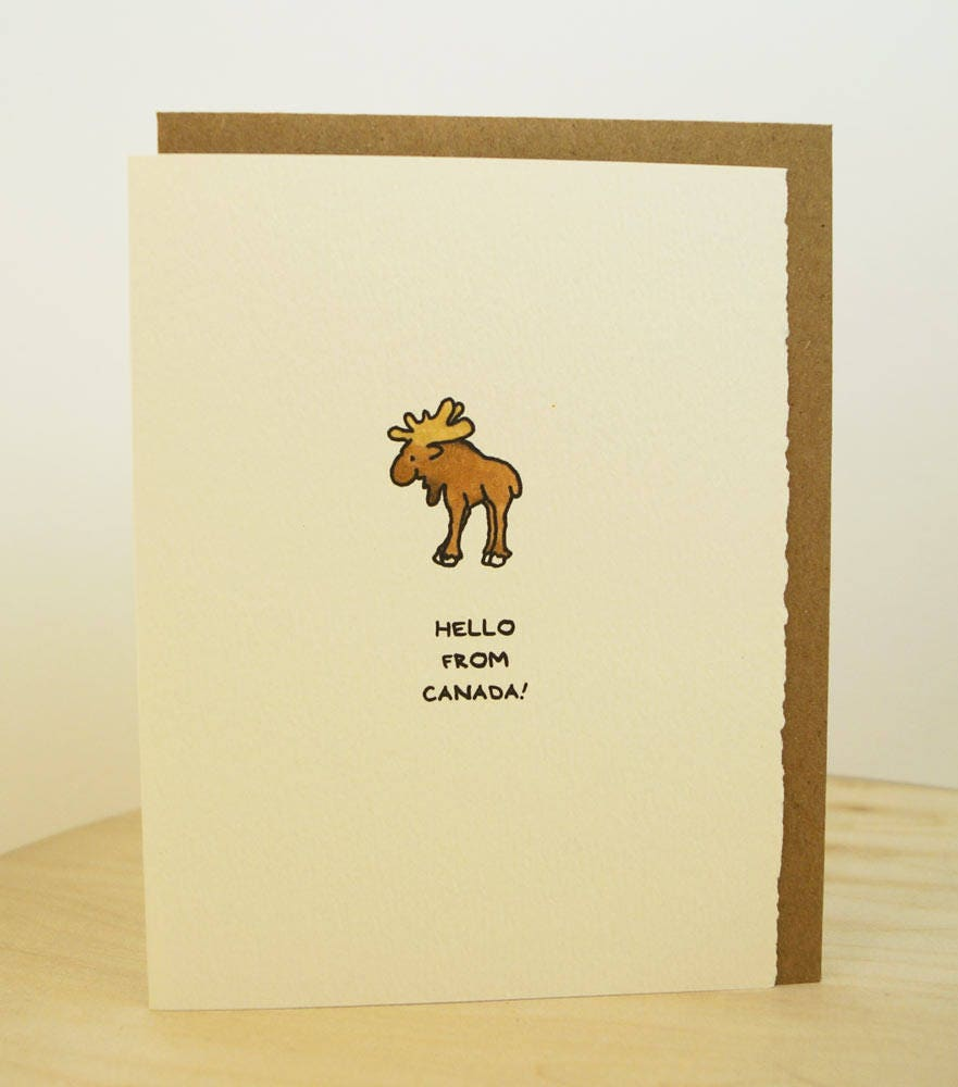 Hello From Canada Cute Happy Moose Canadian Greeting Card Stationery