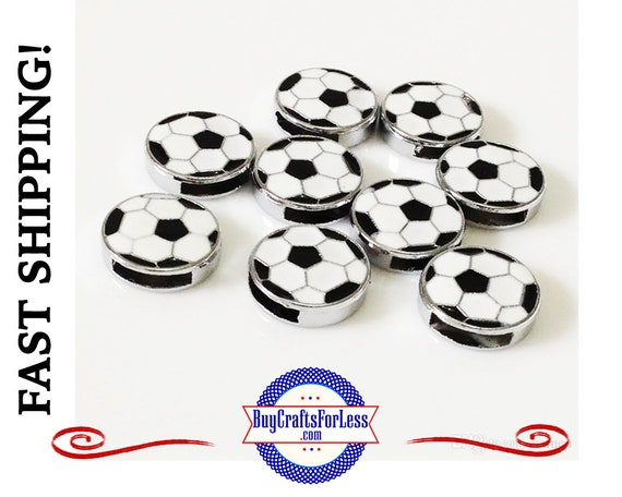 SOCCER Ball for 8mm SLIDE Bracelets, Key Rings, Collars +FREE Shipping & Discounts*