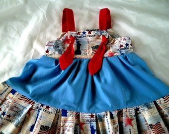 PATRIOTIC KNOT dress    @@@  Sizes from 9 Mo. to 8 girls