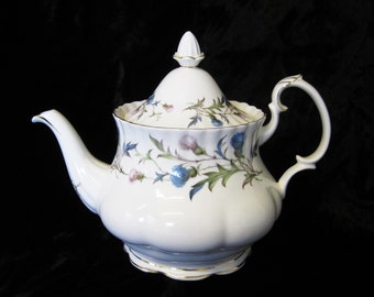 "Royal Albert ""Brigadoon"" 6 Cup Teapot, First Quality, Blue and Lavender Thistles"
