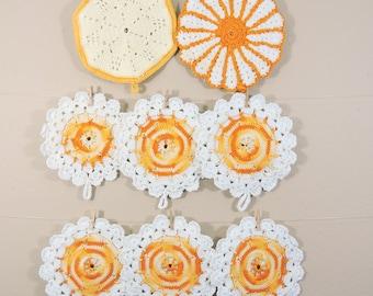 Vintage Crochet Pot Holder Lot / Yellow Orange Crochet Pot Holders / Round Crochet Trivets