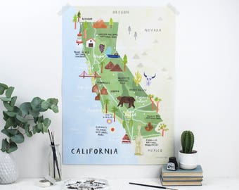 California Illustrated Map - California Print - California Map Poster