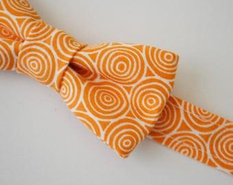 Boys Bow Tie, SALE, Orange With White Circles, Children's Bow Tie, Kids Bow Tie, Bow Ties for Boys