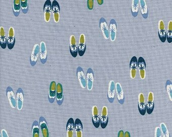 Cotton + Steel Panorama Ocean - Oxford in Blue Suede - Blue Shoes Fabric - Unbleached Quilting Cotton Fabric by the Yard
