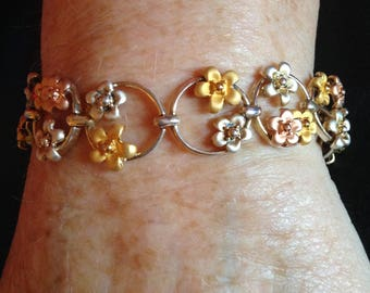 Tri-colored Flowers Sterling Silver Bracelet