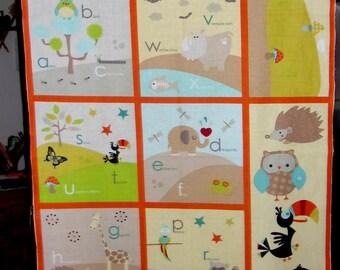 Panneau Tissu coton pour enfants avec lettres de l'alphabet