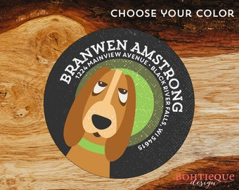 Branwen the Dog Personalized Return Address Label with Color Choices