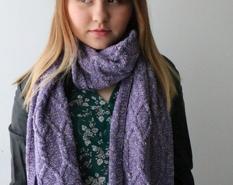 Woman's violet tweed scarf, Knitted purple scarf, Lavender scarf Aran knit scarf, Women's scarf, Wool scarf, warm scarf, winter scarf