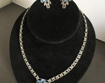 Art Deco Necklace & Earrings Set Openback Necklace with screwback Earrings Blue Clear Paste