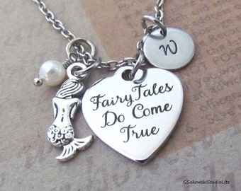 Fairy Tales Do Come True Little Mermaid Charm Necklace, Personalized Hand Stamped Initial Monogram Birthstone Antique Silver Heart Necklace