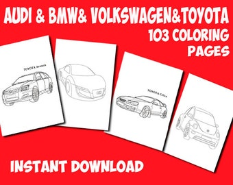 Voitures Coloriage pages imprimables-Kids BMW-page de coloriage Coloriage page-TOYOTA coloration page-Audi Coloriage page à colorier page-Volkswagen