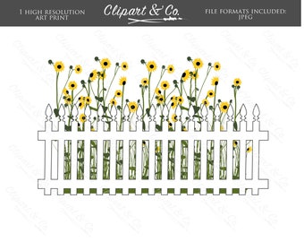 Printable Wall Art White Picket Fence and Wild Sunflowers Instant Digital Download Poster Digital Print, Art Prints JPEG Wild Flowers Spring