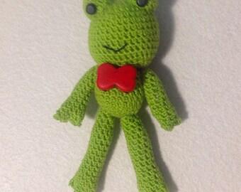 Elegant handmade crochet amigurumi frog