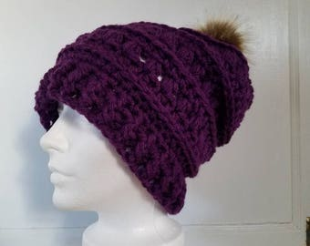 Mabel Toque.Ready to Ship//EGGPLANT PURPLE Slouch Hat//Faux Fur Pom Pom//Crochet Hat//Puffy Hat//Ribbed Band