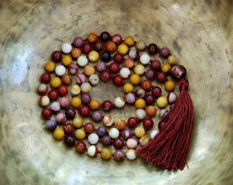 Mookaite Mala Beads, 108 Mala Bead, Mala Necklace, Prayer Beads, Yoga Jewelry, Japa Mala, Meditation, Jasper Necklace, Tassel Nacklace