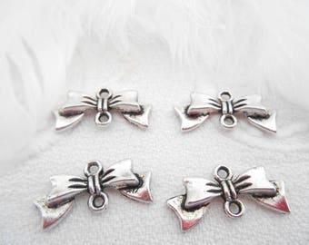 x 4 knots connectors antique silver metal.