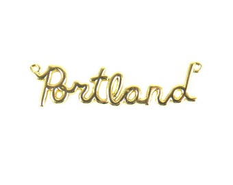 Gold Plated Portland Wire Name Pendant (1X) (K622-C)