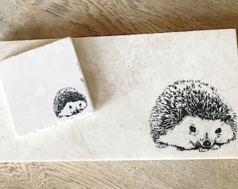 HEDGEHOG natural stone platter and coaster tableware (various sizes)