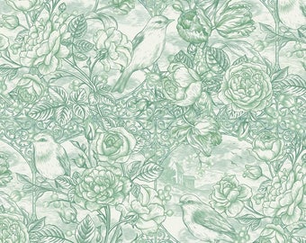 In The Beginning - Romance - Toile - Teal - Birds and Roses - By Jason Yenter
