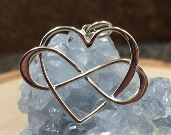 Infinity Heart Charm, Infinity Charm, Large Heart Charm, Infinity Link, Infinity Charm, Infinity Pendant, Sterling Silver, PS01368
