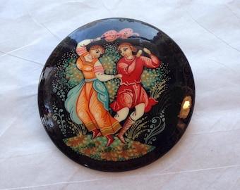 Vintage russian laquer ware brooch