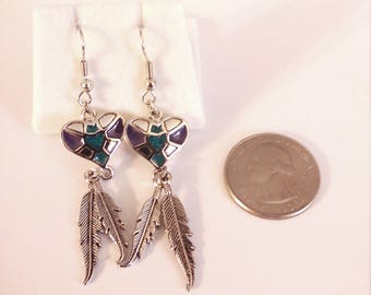 Vintage Silver tone Enameled Indian Style Earrings