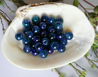 40 Blue and Purple Glass Round Beads 6mm
