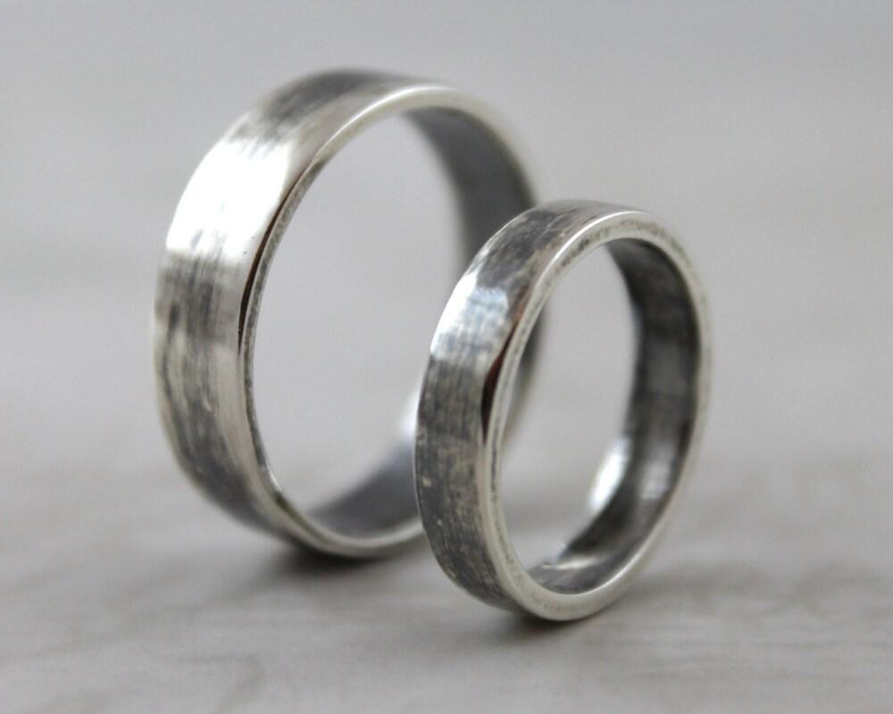 Darkened smooth polished sterling silver ring set Handmade wedding