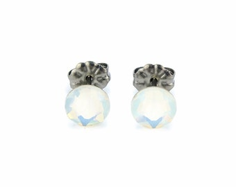 Titanium Stud Earrings Opal Swarovski Crystal Studs, White Opal No Nickel Studs for Sensitive Ears Hypoallergenic Titanium Jewelry