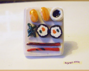 Ring gourmet tray of sushi in fimo