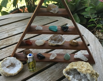 Infused Stone Triangle Shelf, Infused Stone Pyramid Shelf, Meditation Shelf, Magical Pyramid, Infused Crystals, Crystal Shelves