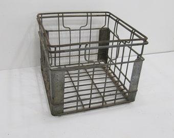 Vintage Metal Milk Crate, Maid Dairy , Wire Crate, Industrial, Storage Crate, Photo Prop
