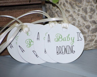 Baby is brewing tags etsy brewing baby shower negle Image collections