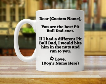 pit bull dad, pit bull gift, personalized pit bull gift, custom pit bull gift, pit bull mug, pit bull gifts, pit bull daddy, pit bull cup
