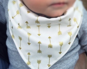 Bandanna Bib/Drool bib/Gold arrow bib/Baby accessory