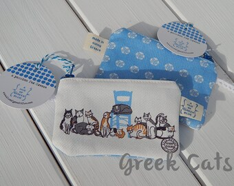 Printed Cotton Purse - Greek Cats