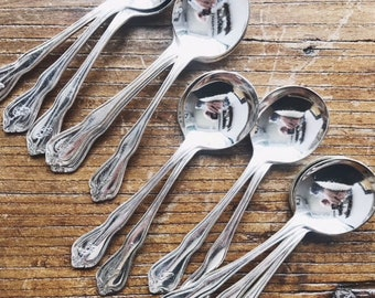 Set of 14 Vintage Silver Plated Greenbrier Hotel Soup Spoons