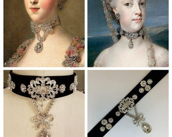 Rococo Bow Crystal Choker - Reproduction Paste Georgian Necklace - 18th Century Jewelry - Marie Antoinette Jewelry