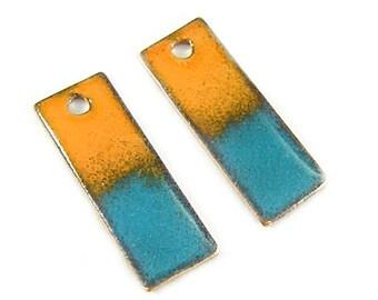 Enameled Copper Shimmer Sticks-30mm-Orange Turquoise- -Bohemian Beads-Boho
