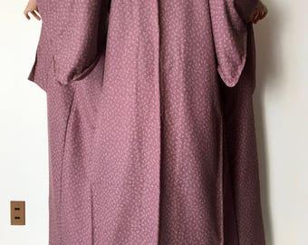 Silk Kimono Robe - Spring Sprouts - Vintage Kimono - Japanese Robe - Size L Kimono - Authentic Kimono - Kimono Long - Silk Robe - Boho Robe